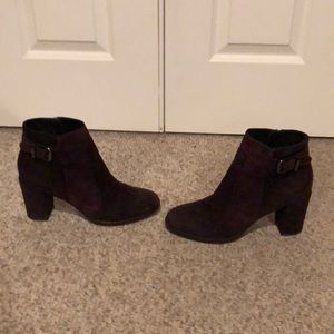 Aquatalia brown & burgundy suede ankle boots 10